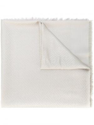 Жаккардовый платок с логотипом Fendi. Цвет: серый