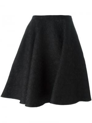 Кружевная юбка с цветочным узором Paule Ka. Цвет: чёрный