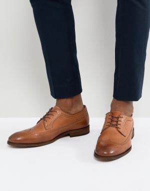 Zign Кожаные броги на шнуровке коньячного цвета. Цвет: коричневый