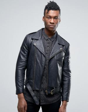 Rollas Кожаная байкерская куртка Mad Max. Цвет: черный