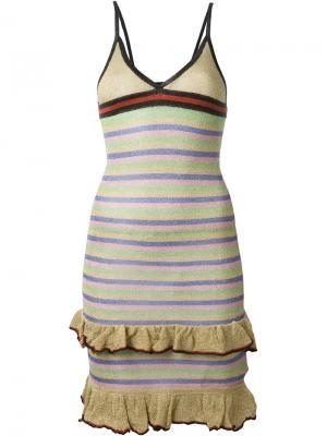 Полосатое платье с оборками Sibling. Цвет: многоцветный