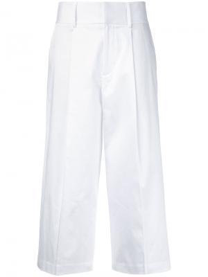 Укороченные брюки Santana Alice+Olivia. Цвет: белый