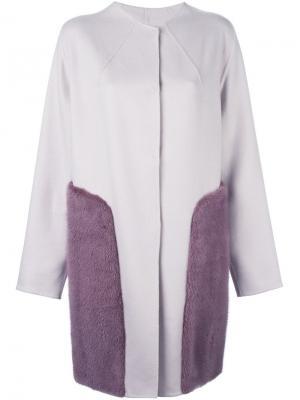 Пальто с кашемировыми панелями Liska. Цвет: розовый и фиолетовый