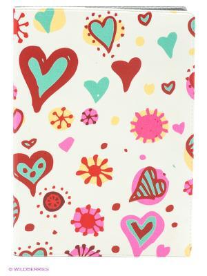Обложка для автодокументов Цветные сердечки Mitya Veselkov. Цвет: молочный