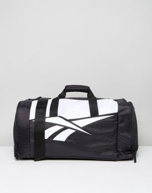 Reebok Черно-белая классическая дорожная сумка. Цвет: черный