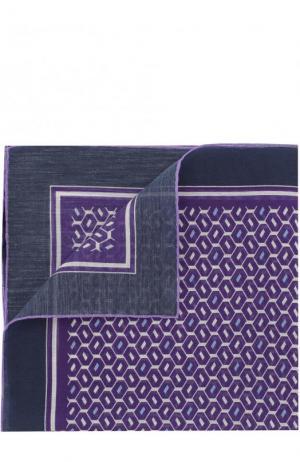 Платок из смеси хлопка и шелка с узором Ermenegildo Zegna. Цвет: сиреневый