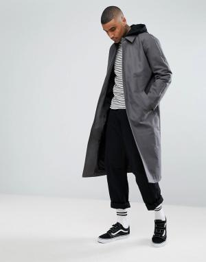 ASOS Темно-серый тренч с трикотажным капюшоном. Цвет: серый