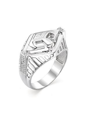Мужское кольцо - печатка Спартак KU&KU. Цвет: серебристый, белый, прозрачный