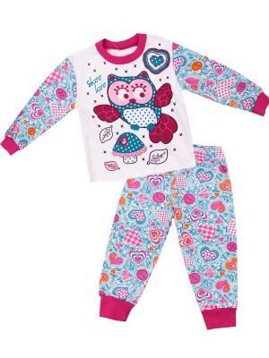 Пижама Апрель. Цвет: голубой, малиновый, розовый, белый