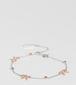 Olivia Burton Серебристый браслет с золотисто-розовыми бантами и шарами Burto. Цвет: мульти