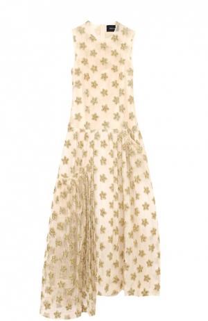 Платье асимметричного кроя с фактурной отделкой в виде звезд Simone Rocha. Цвет: золотой