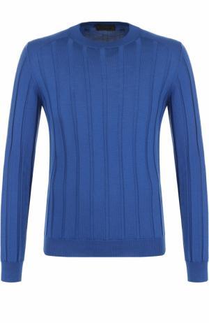 Джемпер из шерсти фактурной вязки Fabrizio Del Carlo. Цвет: голубой