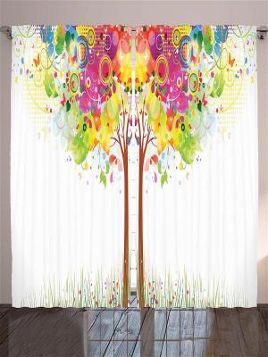 Фотошторы Волшебное дерево Magic Lady. Цвет: белый, зеленый, салатовый, голубой, фиолетовый, красный, оранжевый, розовый, желтый