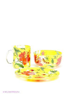 Набор посуды Bekker. Цвет: желтый, зеленый, красный