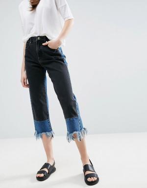 ASOS Контрастные прямые джинсы с необработанными краями. Цвет: мульти