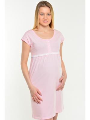 Платье-сорочка розовый с кружевом Ням-Ням. Цвет: бледно-розовый,молочный
