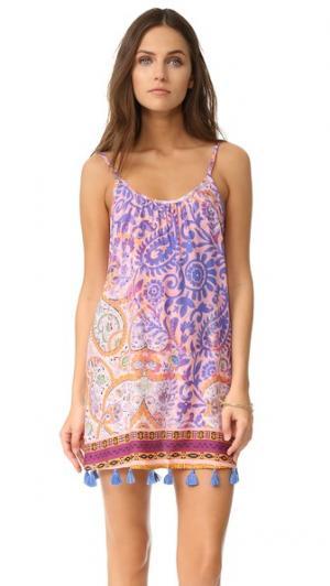 Пляжное платье с узором «павлиний глаз» Bindya. Цвет: фиолетовый