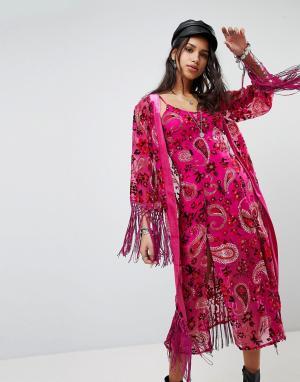 Ebonie n ivory Бархатное кимоно Luxe. Цвет: розовый