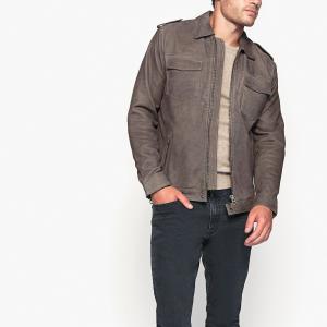 Блузон кожаный демисезонный PEPE JEANS. Цвет: серый