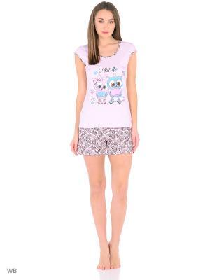 Домашний костюм ( футболка, шорты) HomeLike. Цвет: коричневый, розовый