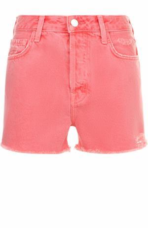 Джинсовые мини-шорты с потертостями J Brand. Цвет: оранжевый