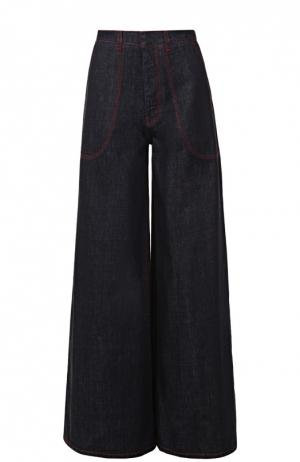 Расклешенные джинсы с контрастной прострочкой Marni. Цвет: темно-синий