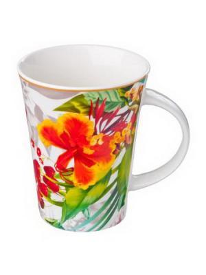 Кружка 350мл, фрф, цветы-11, 4 диз. в подар. уп. KONONO. Цвет: красный