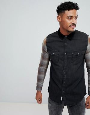 River Island Черная джинсовая рубашка с клетчатыми рукавами. Цвет: черный