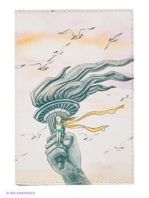 Обложка для автодокументов В розовых облаках Mitya Veselkov. Цвет: зеленый, бледно-розовый, белый