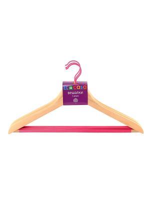 Набор вешалок из 3 штук Дуб EL CASA. Цвет: бежевый, розовый