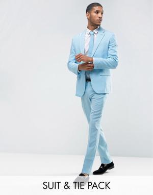 Oppo Suits Голубой облегающий костюм и галстук OppoSuits PROM. Цвет: синий
