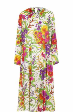 Шелковое платье с цветочным принтом и высоким разрезом Balenciaga. Цвет: белый