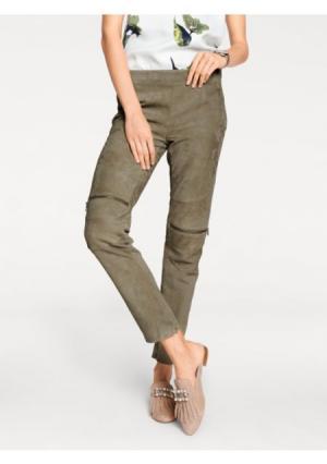 Кожаные брюки RICK CARDONA by Heine. Цвет: хаки