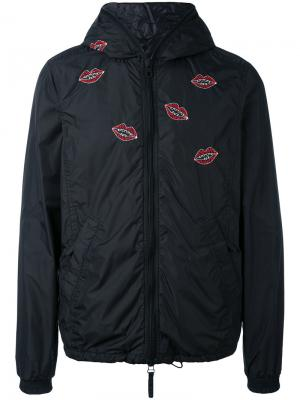 Куртка с вышивкой губ Jimi Roos x  Kiss Duvetica. Цвет: чёрный