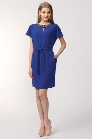 Платье с поясом NOVEMBER. Цвет: ярко-синий