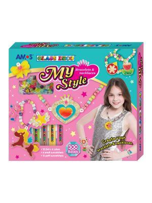 Набор витражных красок Моя стильная бижутерия AMOS. Цвет: розовый