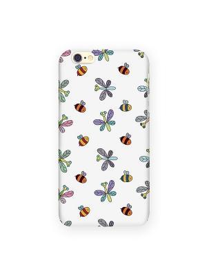 Чехол для IPhone 6 Стрекозы и пчелы на белом Mitya Veselkov. Цвет: белый, зеленый, красный, желтый
