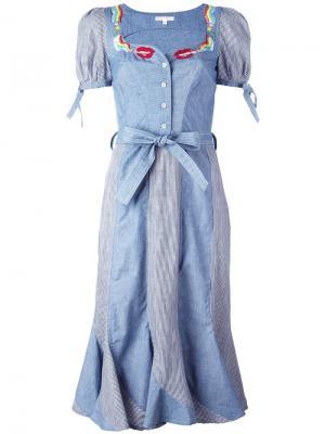 Крестьянское платье с принтом губ и сигарет Olympia Le-Tan. Цвет: синий