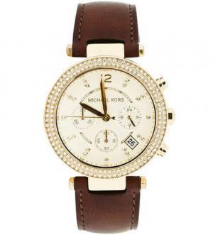 Часы круглой формы с кожаным браслетом Michael Kors