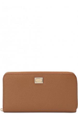 Кожаное портмоне с тиснением Dauphine Dolce & Gabbana. Цвет: бежевый