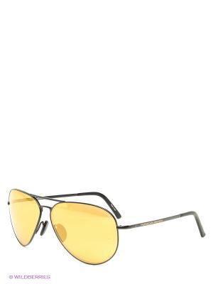 Солнцезащитные очки Porsche Design. Цвет: черный, желтый