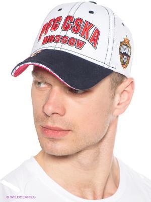 Бейсболка ПФК ЦСКА Atributika & Club. Цвет: белый, темно-синий, красный