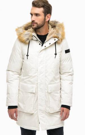 Утепленная белая куртка с капюшоном Diesel. Цвет: белый