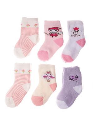 Набор носочков Pretty Mania. Цвет: розовый, белый, фиолетовый, бежевый