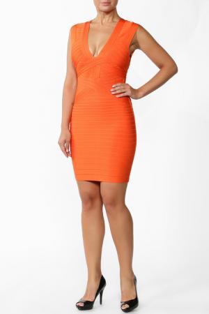 Платье Herve Leger. Цвет: оранжевый