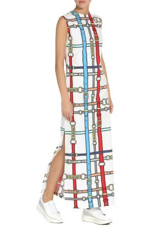 Длинное летнее платье с узором Love Moschino. Цвет: white, belt pr.