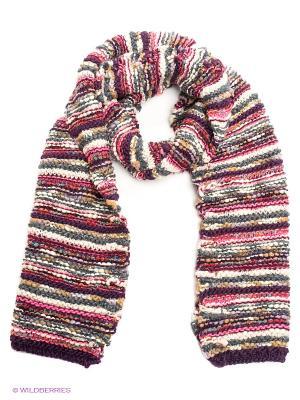Шарф Pieces. Цвет: фиолетовый, розовый, белый, серо-зеленый