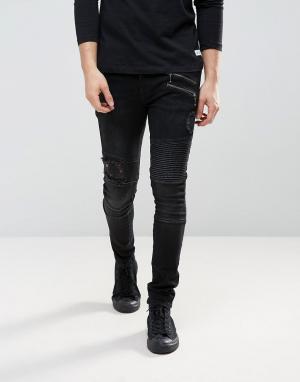 ASOS Черные выбеленные джинсы скинни с рваной отделкой. Цвет: черный