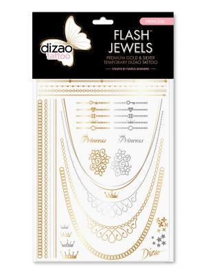 Премиальные золотые и серебряные временные Дизао тату Flash Jewels Морская Dizao. Цвет: золотистый, черный