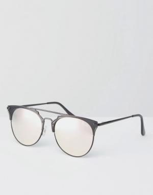 Quay Australia Металлические солнцезащитные очки кошачий глаз с розовыми зеркальными. Цвет: черный